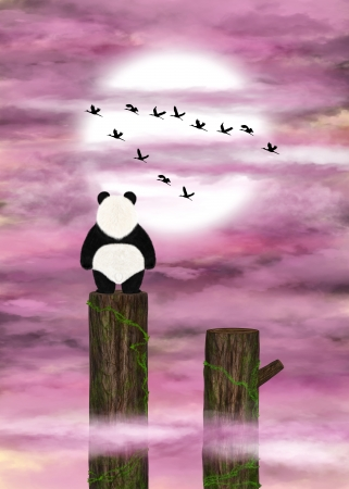 Dreamer panda admires pink clouds and a flying flock of cranes. Digital art.