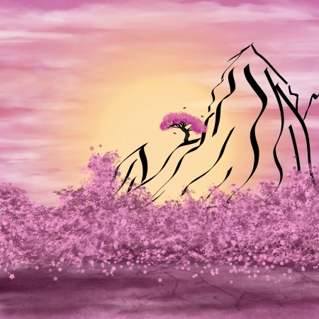 Schematic mountains, pink blossoms and bright sun. Illustration Digital Art. illustration