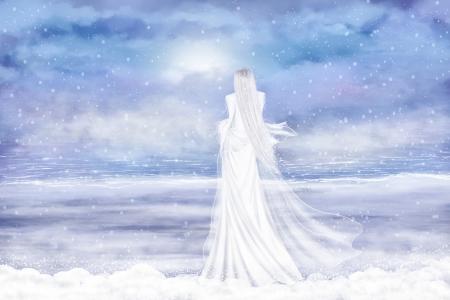 Fantasy illustration in winter colors and lady winter. Digital art. illustration