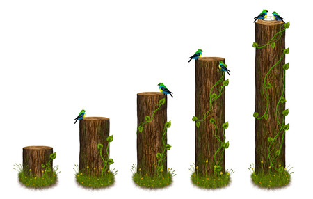 Statistics chart formed as tree trunks with birds. Statistics diagram in nature style. Illustration. illustration