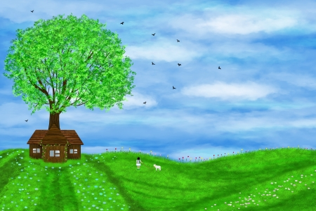 Summer illustration with a little girl and a lamb. A lonely house and a green tree. Stock Photo