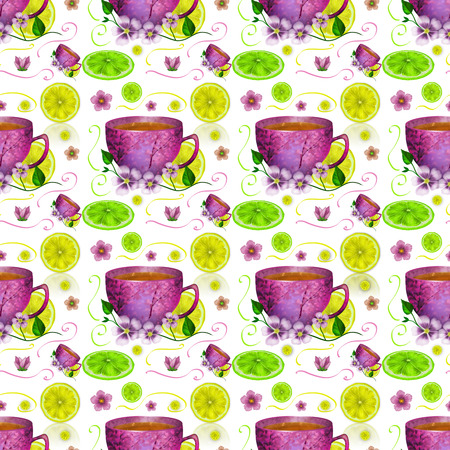 Seamless pattern with cup of tea and lemons on a white background  Stock Photo