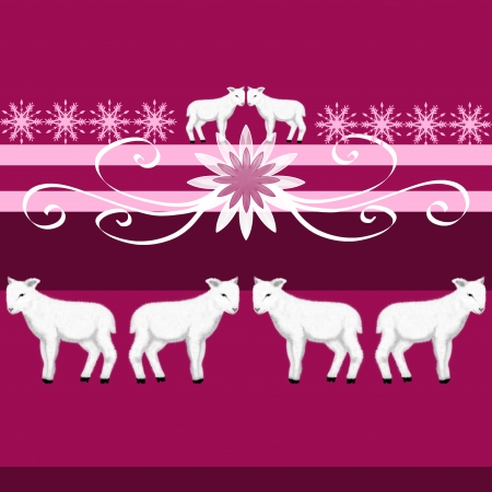 Seamless border and pattern with a white lamb  Pink background