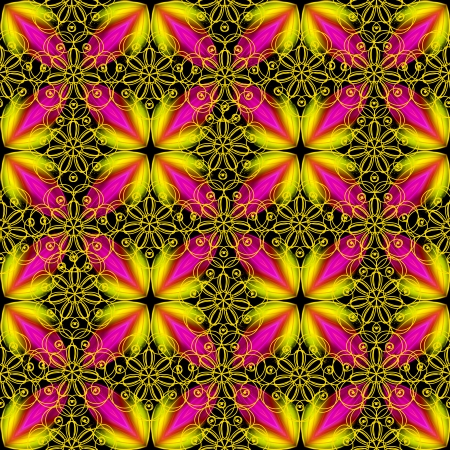 fuschia: Beautiful lace pattern in yellow and fuschia colors. Seamless background.