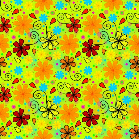 Bright and crazy summer floral pattern. Bright and vivid colors.