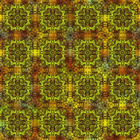 Seamless abstract pattern in yellow color. Effect ancient pattern. Stock Photo