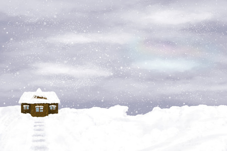 snowdrifts: Lonely house on winter sky background. Snow, winter, snowdrifts.
