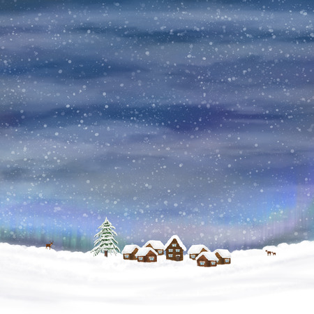 Winter sky and small village in a snow. photo