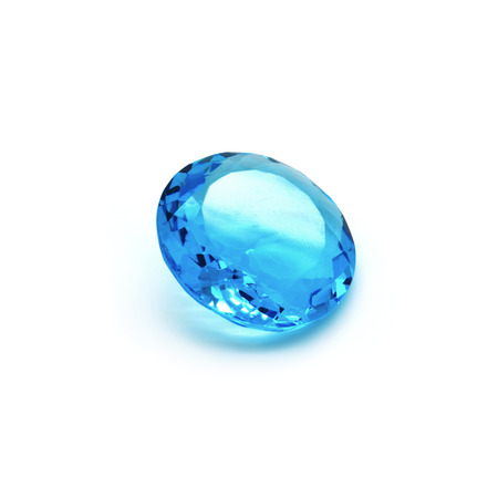 cabochon: Very beautiful precious blue stone on a white background.