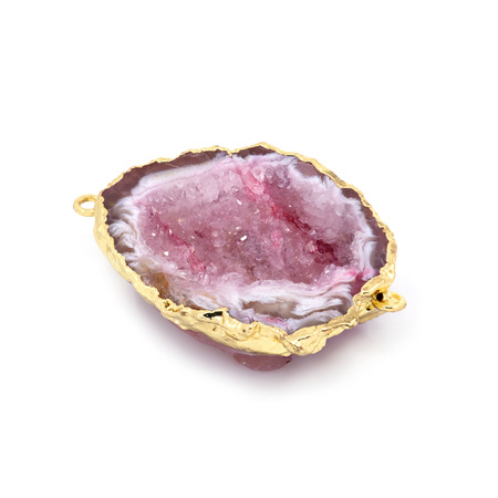 Beautiful natural pink mineral in gold frame. White background. Macro shooting. Stock Photo