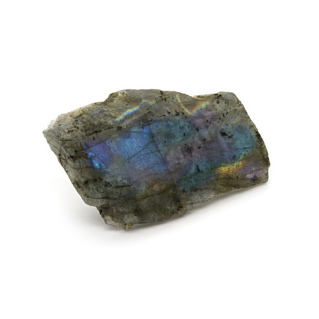 labradorite: Natural rare rough labradorite stone on a white background.