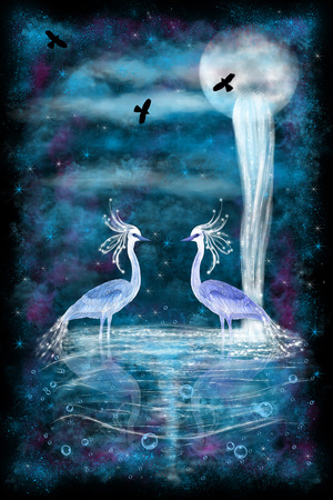 Fantasy illustration. Two fabulous herons standing in water.