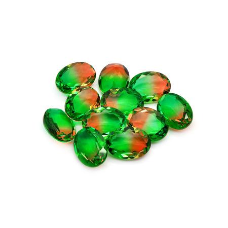 doublet: Bicolor gems on a white background. Watermelon color.