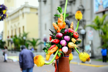 Vegetable ikebana on streets