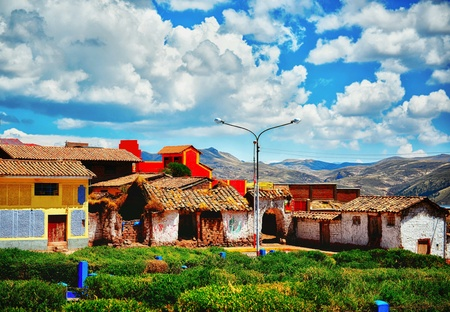 Small village up high in peruvian mountains Stock Photo