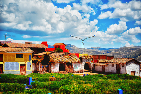 Beautiful village up high in Peruvian mountains