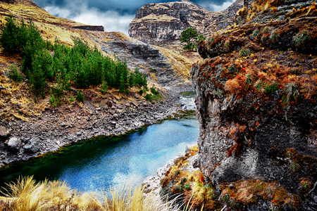 Beautiful blue river in mountains of Peru. Stock Photo