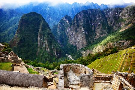 Inca city Machu Picchu in Peru. Ancient lost city in mountains.