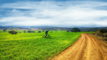 Mountain biking through green fields Stock Photo