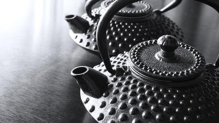 kettles: Two black Japanese cast iron tea kettles