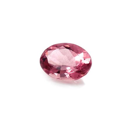 Semi-precious stone pink tourmaline on a white background. Stockfoto