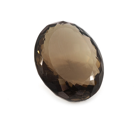 Faceted smoky quartz on a white background.