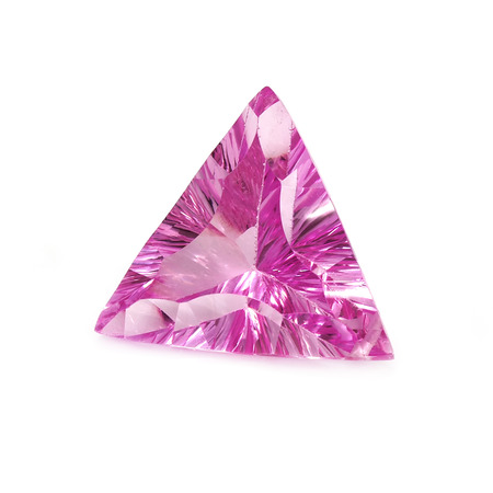 Triangular Shaped Pink Sapphire on a White Background. Stock Photo