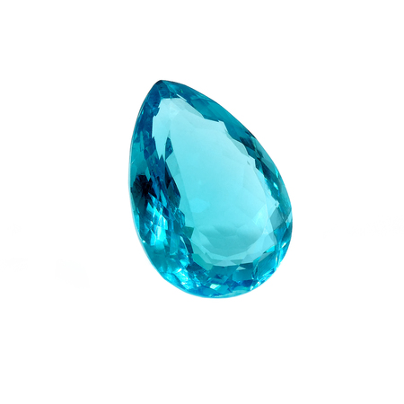 Blue Topaz Pear Shape Isolated on White. Stock Photo