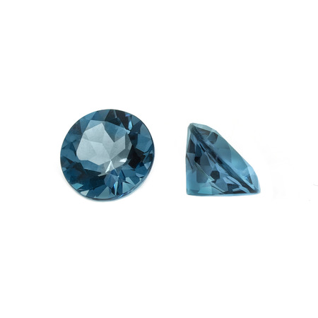 Isolated London Blue Topaz, Brilliant Cut, Round Shape Stock Photo