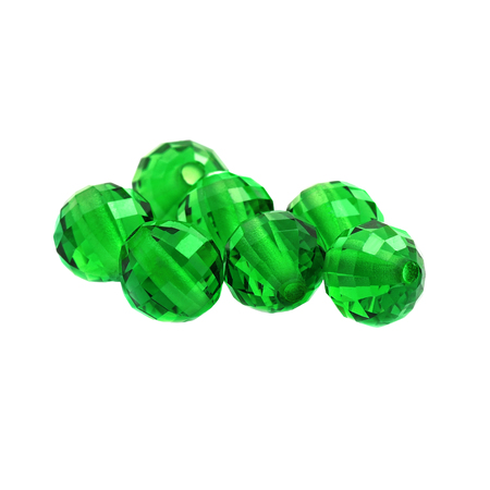 Isolated Emerald Color Round Shaped Beads in a White Background.
