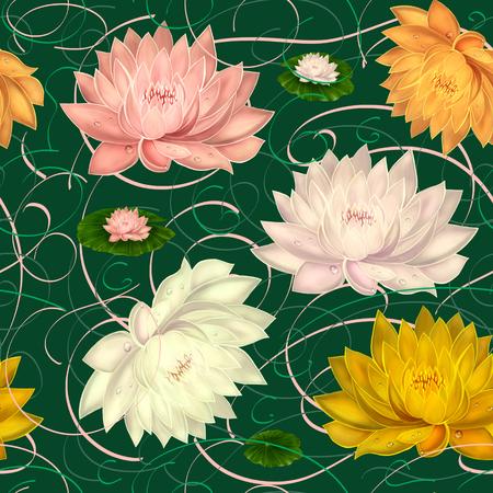 Beautiful water lilies оn a dark green background. Seamless pattern.