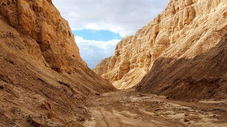 Sandy Dry River Bed in Desert. Dead Sea Region.