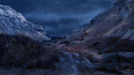 Blue Night in the Judean Desert. Israeli Desert Landscape.