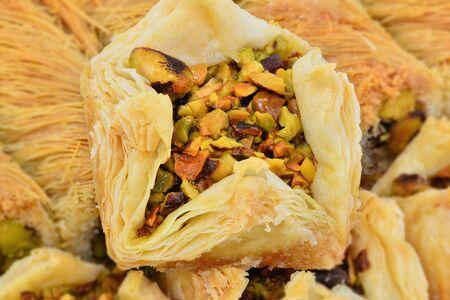 Arabic baklava with pistachios. Close up macro shot.