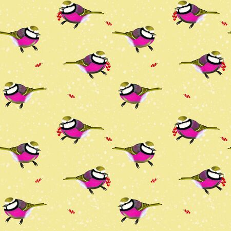 Seamless background. Bright fuchsia birds with red berries on a yellow  background. Banco de Imagens