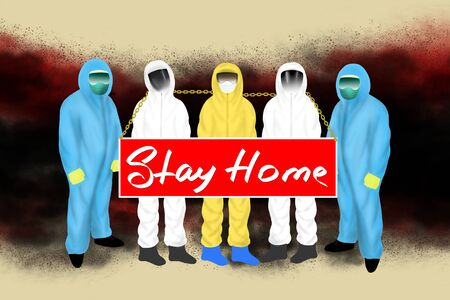Stay Home! Scientists and biologists ask to stay at home during quarantine. Digital Art Illustrarion.
