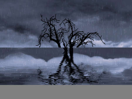 Heavy downpour flooded a dry tree. Digital artwork.