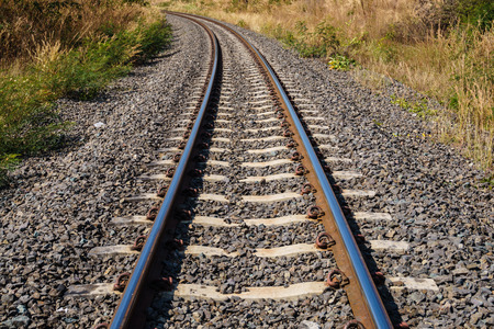 railroad transportation: railroad for transport amid drought, transportation way Stock Photo
