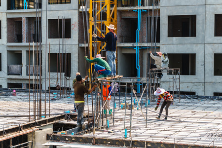 site: Asian workers in construction site, Laborer of asian Stock Photo