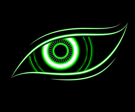 green eye: green eye technology abstract background vector Illustration
