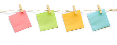 collection of colorful post it paper note with hemp rope on white background Stock fotó - 71327943