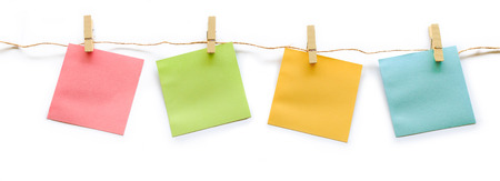 collection of colorful post it paper note with hemp rope on white background