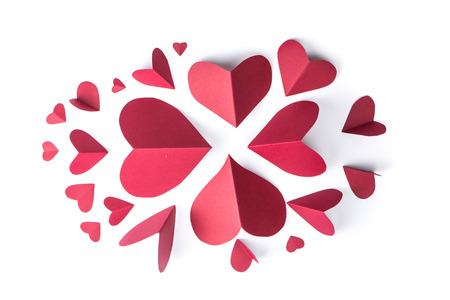 love shape: red heart paper on white background Stock Photo