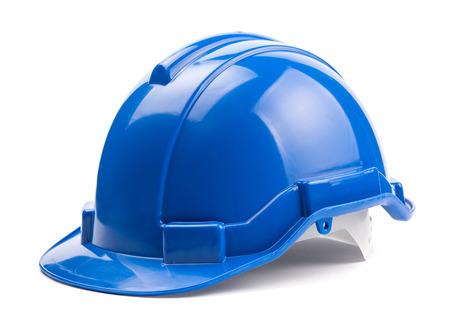 흰색 배경에 고립 된 파란색 건설 헬멧