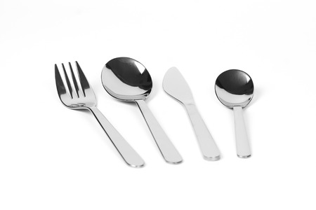 spoon, fork and knife isolated on a white background Stock Photo