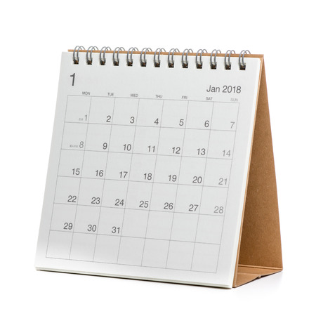 Minimal desk calendar 2018 isolated on white background 版權商用圖片