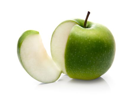 granny smith: green apple and slice isolated over a white background