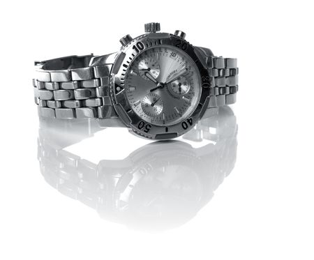 used silver watch isolated over a white backgtound Stock Photo