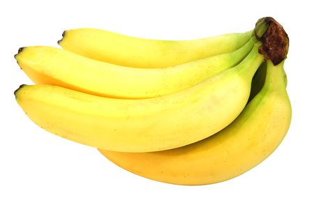 medium closeup: fresh brunch of banana isolated over a white background