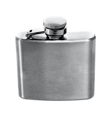 flask of brandy isolated over a white background photo